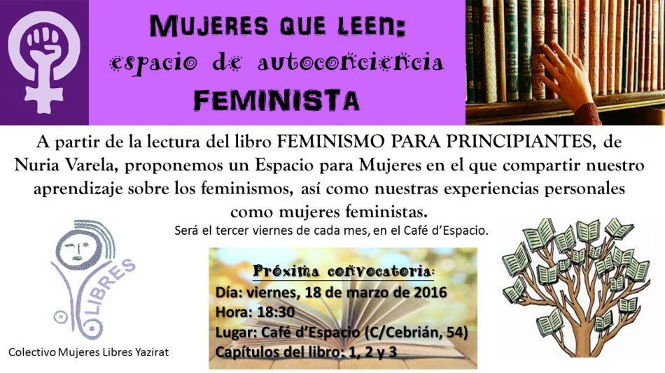CARTEL LECTURA FEMINISTA MARZO 2016